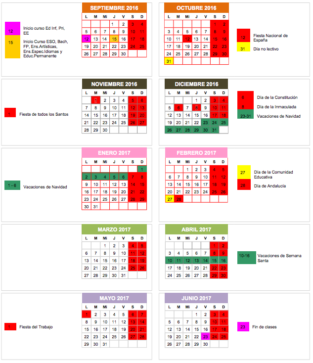 Calendario escolar de la Escuela Oficial de Idiomas de Granada