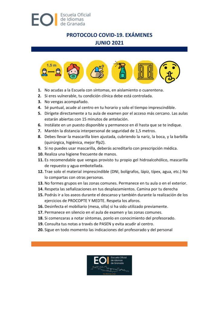 Protocolo Covid Examenes Junio 21