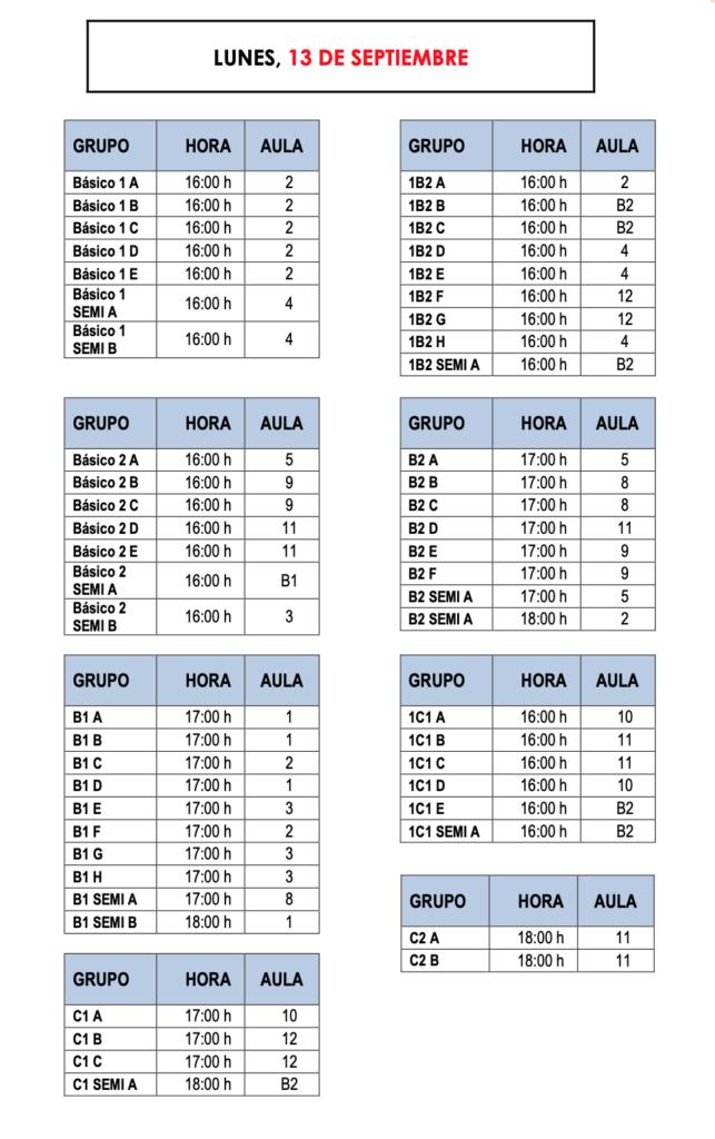 Calendario Revision Examen Inglés